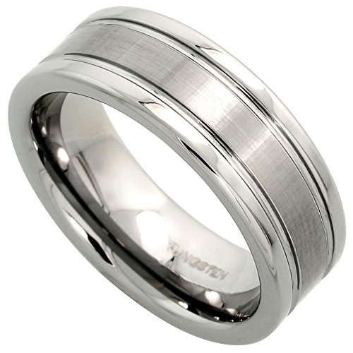 Tungsten Carbide 8 mm Flat Wedding Band Ring Satined Center Grooved Edges, Size 13.5