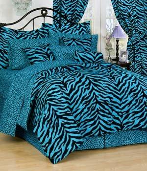 Blue Zebra 6 Pc EXTRA LONG TWIN Comforter Set (Comforter, 1 Flat Sheet, 1 Fitted Sheet, 1 Pillow Case, 1 Sham, 1 Bedskirt) SAVE BIG ON BUNDLING! ()