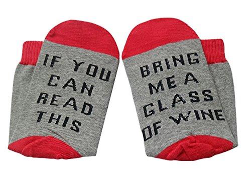 Women's Cotton Funny Crew Socks Novelty Funky Cute Wine Party Hosiery (Red) (Red Wine For Gift)