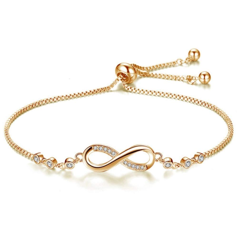 0ef9793c6254d0 Amazon.com: Hollywood Sensation Infinity Bracelets for Women- 925 Sterling  Silver/ 18k Gold Plated Crystal (Gold, Gold-Plated-Copper): Jewelry