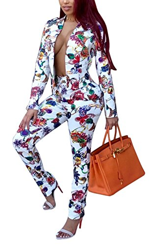 Evesymil Women Long Sleeve Stripe Top Jacket Long Pants 2 Piece Suit Set Outfits (14/16, 1356) by Evesymil