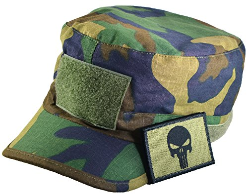 Tactical Woodland Military Camo Army Camouflage Adjustable Patrol Fatigue Cap with Tactical Morale Operator Skull Patch - Olive Drab (FCAP-WOOD-WPUN-OD)