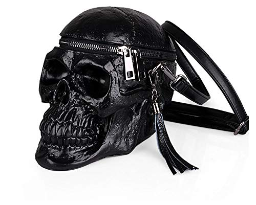 Skull Shaped Women Shoulder Bag Gothic Crossbody Bag Silicone Party Costume Cool Stylish Zipper Waist -