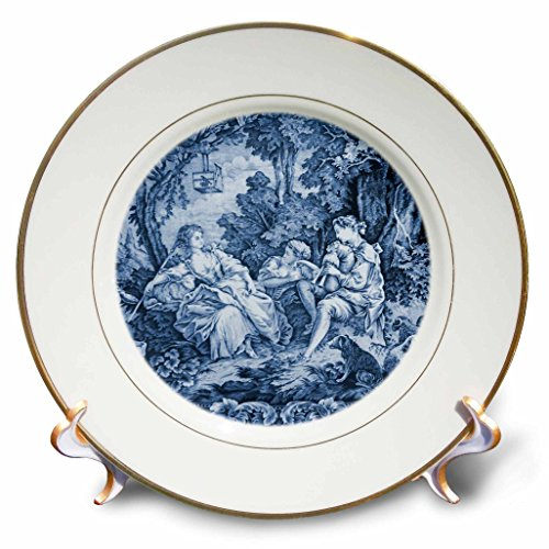 Toile Plate Porcelain (3dRose cp_34728_1 French Blue Toile I-Porcelain Plate, 8-Inch)
