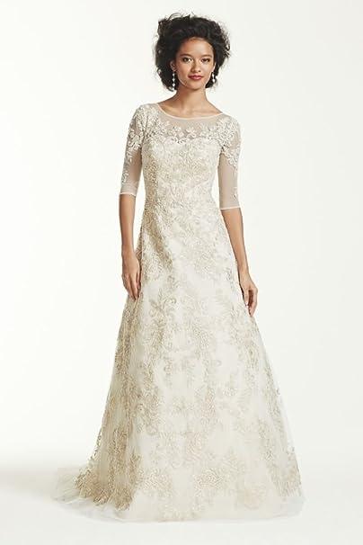 64e6dd49397e David's Bridal Oleg Cassini 3/4 Sleeve Lace Wedding Dress Style CWG630,  Ivory,