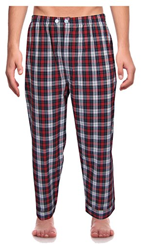 RK Classical Sleepwear Mens Broadcloth Woven Pajama Set, Size Small, Red, Plaid (0156) by Robes King (Image #2)