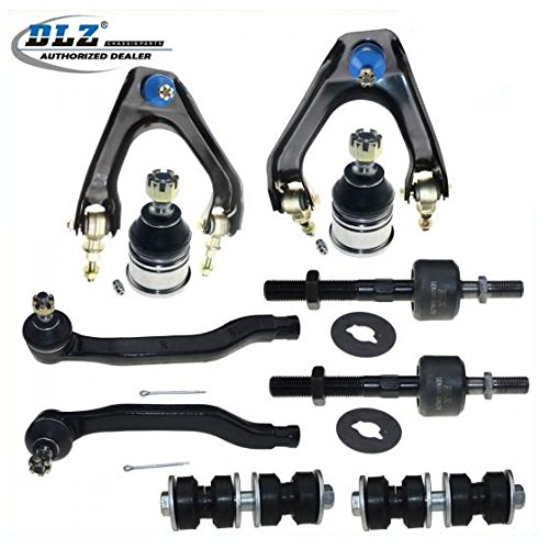DLZ 10 Pcs Front Suspension Kit-Upper Control Arm Ball Joint Assembly Lower Ball Joint Outer Inner Tie Rod End Sway Bar Compatible with 1990 1991 1992 1993 Honda Accord K9643 EV283 K9815 ES3154 K90122
