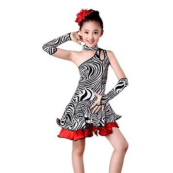 CHQYY Trajes de Baile Latino - Vestido de Competencia con Falda ...