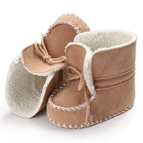 Omiky® Baby Weiche Sohle Schneeschuhe Weiche Krippe Schuhe Kleinkind Stiefel Mit Samt Schnürsenkel Khaki