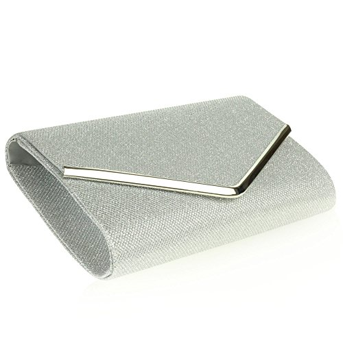 Prom Evening Wedding Clutch bag Women Bridal Sparkly Rectangle Ladies Silver Party Hand Envelope 4IS4TFx8qw