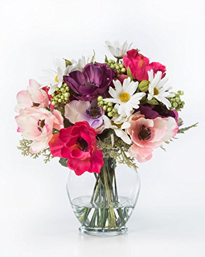 Anemones Daisies Silk Flower Arrangement Silk Flower Arrangements