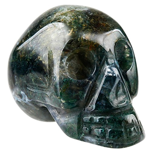 SUNYIK Moss Agate Carving Skull Statues,Pocket Healing Figurine Sculpture (Agate Sculpture)