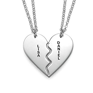 f45f01d466 Sterling Silver Engraved Breakable Two Piece Heart Necklace - Personalise  with 2 Names! Free engraving!: Amazon.co.uk: Jewellery