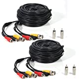 Masione 2 PACK black 100ft Feet AV Video Audio & Power BNC Cable for CCTV Video Security Surveillance Camera with 2 RCA Male to BNC Female Connectors 3JG