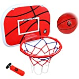 """jerryvon Basketball Hoop Over The Door(15""""x11.5"""") Mini Wall Basketball Hoop Indoor Rim Combo with Ball Pump Set for Toddler Kids Child Youth Boys Girls Adult Party Family Game"""