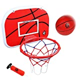 "jerryvon Basketball Hoop Over The Door(15""x11.5"") Mini Wall Basketball Hoop Indoor Rim Combo with Ball Pump Set for Toddler Kids Child Youth Boys Girls Adult Party Family Game"