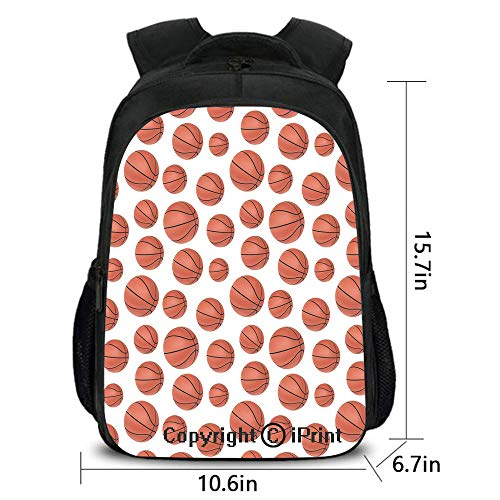 Campus Both shoulders school bag,Realistic Style Balls Pattern on White Classical Sports Themed Decorative,fashion hundred Take up,15.7