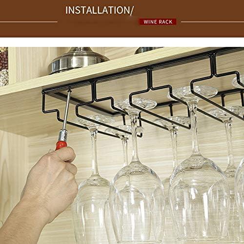 ゴブレットホルダー シンプルなワイングラスホルダー4行は、下のキャビネットステンレス鋼のハンガーラック脚付きグラス ワインラック (Color : Black, Size : 40*22.5cm)