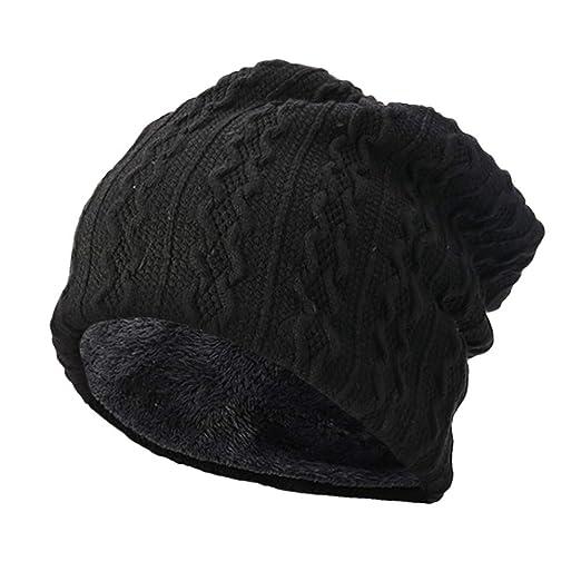 05117ade1 Yezijin Men Women Solid Warm Crochet Plus Velvet Knit Ski Beanie Skull  Slouchy Caps Hat (