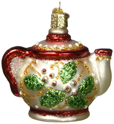 Old World Christmas Ornaments: Holly Teapot Glass Blown Ornaments for Christmas Tree (32247)