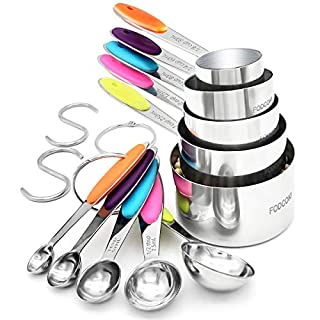 Measuring Cups and Spoons Set of 12, FODCOKI Real 18/8 Stainless Steel Measuring Spoons and Cups with Silicone Handle, for Dry & Liquid Ingredients, Colorful