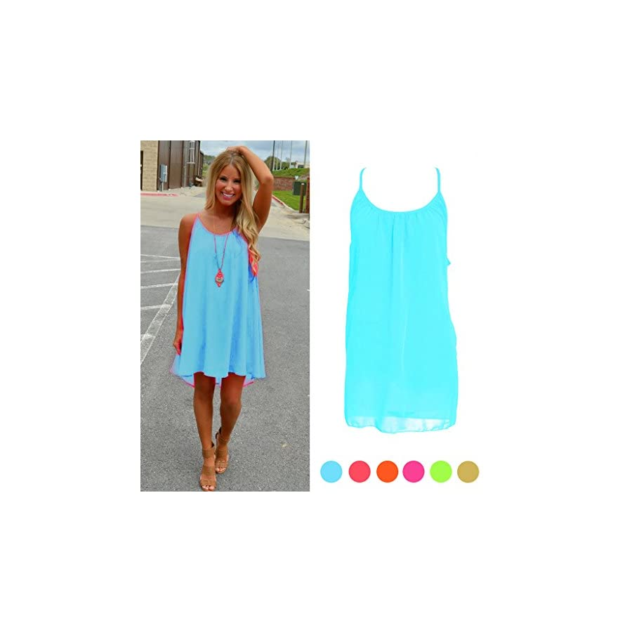 SCASTOE Womens Summer Sundress Beach Chiffon Casual Sleeveless Dress Blue