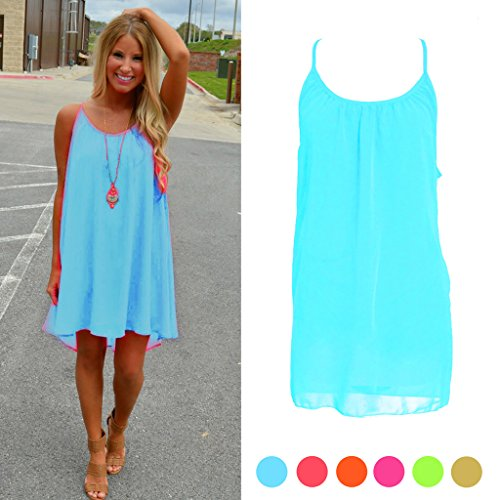 SCASTOE Womens Summer Sundress Beach Chiffon Casual Sleeveless Dress Blue