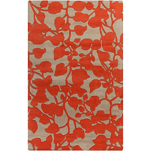 Surya G5122-23 Hand Tufted Casual Accent Rug, 2 by 3-Feet, Poppy/Beige