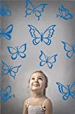 Butterfly Wall Art Vinyl Stickers DIY Nursery or Girls Room Decor Peel and Stick Butterflies Decals (Azure Blue, 24x25 inches)
