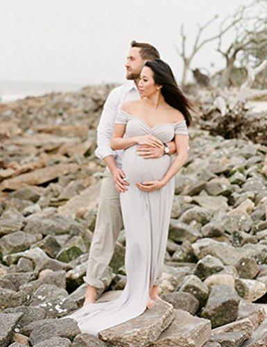 NiSeng Mujer Embarazada La Palabra Cuello Manga Corta Algodón Elástico Larga Vestido Embarazada Fotografía De La Cámara Herramienta Rosa