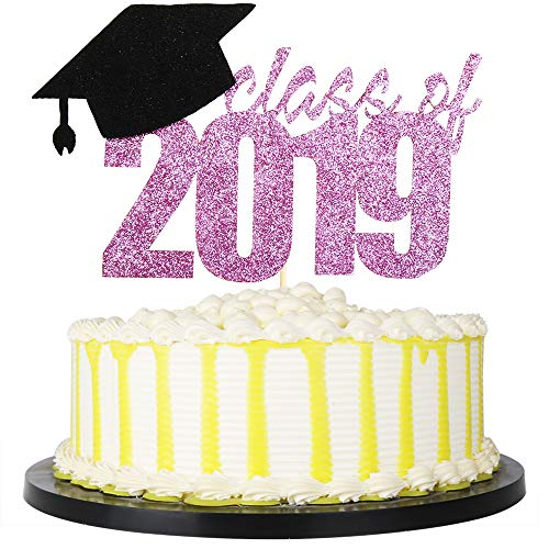 PALASASA Congrats Grad Cake Topper, 2019 Graduate Party Decorations (Purple Class of 2019)