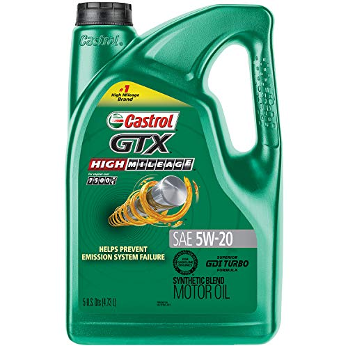 Castrol 03100 GTX High Mileage 5W-20 Synthetic Blend Motor Oil, 5 Quart ()