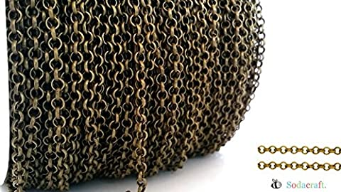 10ft (3.1 meter) Antique Brass/ Bronze Rolo Chain- Lead & Nickel Free- 3mm (Chain Necklace Brass)