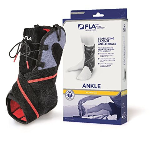 FLA Stabilizing Lace-up Ankle Brace - Breathable Ankle Brace for Twisted, Sprained Ankle - Lace Up Adjustable Support - Comfortable Brace for Running, Basketball, Injury Recovery, Sprains Men, (104 Rugby)