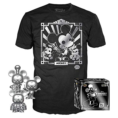 Funko Pop! 3 Pack & Tee Disney – Camiseta 90 de Mickey y Steamboat Willie, Conductor y Aprendiz, Exclusivo de Amazon, Talla S