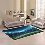 D-Story Floor Decor Professional Baseball Grand Arena In The Night Area Rug Carpet Floor Rug 7'x5' For Living Room Bedroom