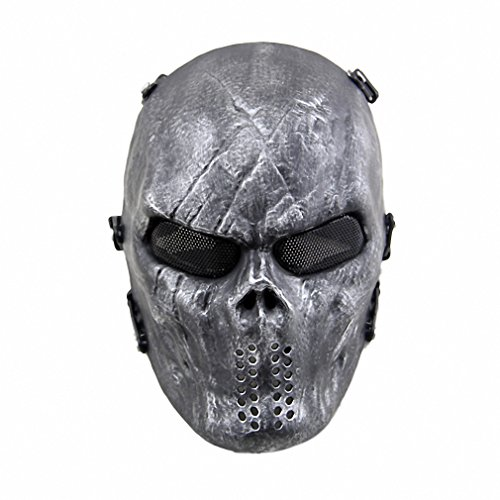 Average Cosplay Black Full Face Adult Skull Mask Airsoft Paintball Tactical Costume Scary Mask For Halloween Christmas Party 3