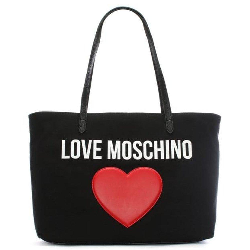 LOVE MOSCHINO Heart Logo Canvas Pebble Tote Bag, Black