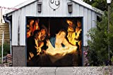 Outdoor Christmas Jesus Murals Nativity Scene Garage Door Banner Single Garage Door Covers Billboard House Garage Holy Night Decor Full Color Decor 3D Effect Print Banner Size 83 x 96 inches DAV201