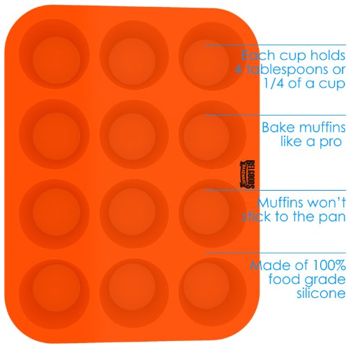 Silicone Muffin Cupcake Baking Pan Tray - Standard Size - 12 Cups - 100% Pure Food Grade Non-Stick Silicone - Orange - Bake Like a Professional by Belgoods Bakeware (Image #1)