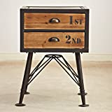 Vintage old bedside table Storage cabinets [iron] Creative bucket cabinet Storage cabinets Bedside table Solid wood drawer storage cabinet-A 55x32x90cm(22x13x35)