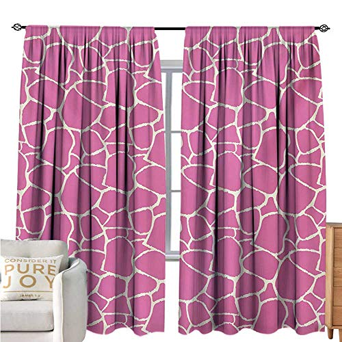 bybyhome Hot PinkThermal Insulating Blackout CurtainAbstract Giraffe Skin Pattern Vivid Color Exotic Animal Camouflage Safari JungleDecorative Curtains for Living Room W96 xL72 Pink White ()