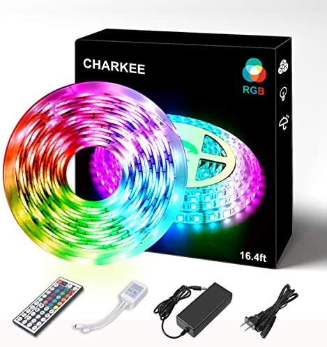 Led Strip Lights, Charkee 16.4ft 5050 Led Strip, 150leds Color Changing Kit with Remote, Led Rope Lights for Bedroom, Led Tape Light Kit for Indoor Outdoor Decoration