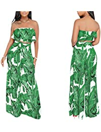1d7f3c78b45e Women s 2 Pieces Outfit Floral Sleeveless Tube Top Palazzo Long Pants High  Waist Jumpsuits
