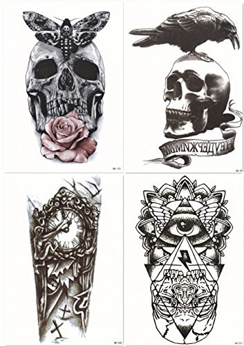 Dalin 4 Sheets Temporary Tattoos Skull Rose Clock God#039s Eye