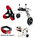 Adjustable Wheels Dog Wheelchair Cart Disabled Dog Assisted Walk Car...