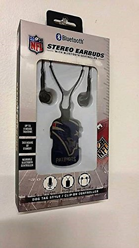 NFL Stereo Earbuds with Bluetooth Controller (New England Patriots) by Mizco