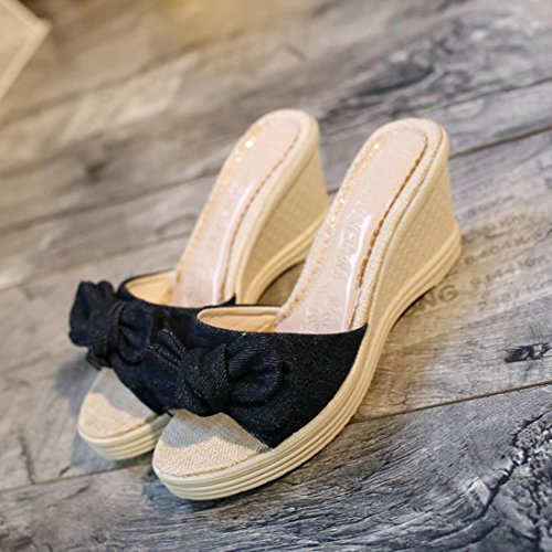 Shoes Fashion Women Black Sandals Ouneed Bowknot Ladies Xxw8vq