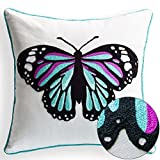 Back to School Chain Embroidery Colorful Butterfly Decorative Throw Pillow Case Cushion Covers 18 x 18 Spring Gifts Indoor Outdoor Decor Spring Decorations, Teal Hue
