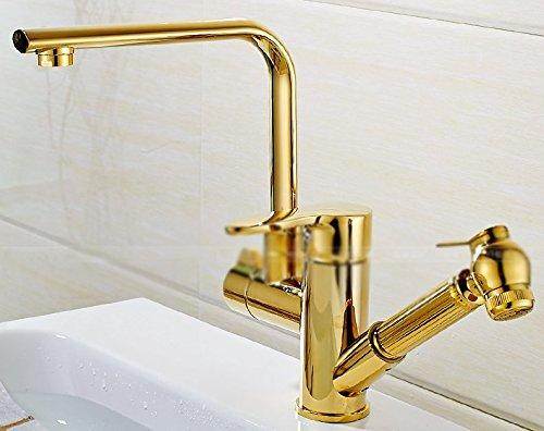 LSRHT Waschtischarmatur Wasserhahn Armatur Badezimmer Waschbecken Mischbatterie Kupfer Gold waschen Gesicht drehen Herausziehen tb-05